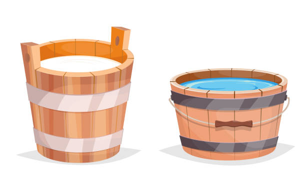 Wooden bucket with water and milk vector art illustration