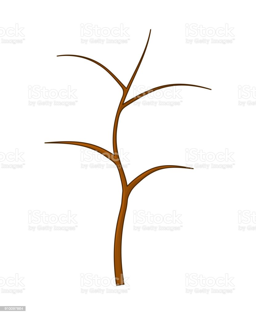 wooden bush, branch, pole, cartoon isolated on white background vector art illustration