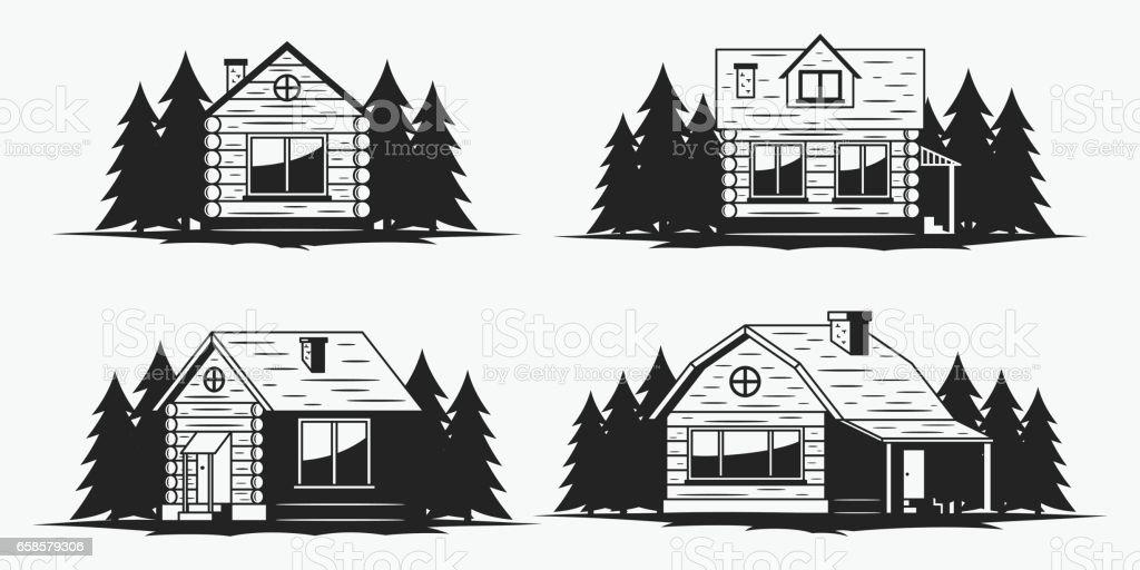 Wooden cabin icons vector art illustration