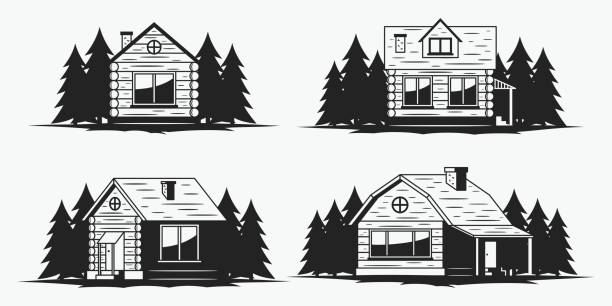 wooden cabin icons - log cabin stock illustrations, clip art, cartoons, & icons