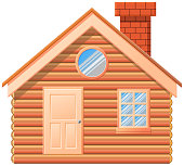 Wooden cabin with chimney vector icon