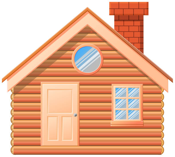Wooden cabin with chimney vector icon vector art illustration