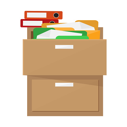 Wooden cabinet with documents. Flat design, vector.