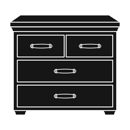 Wooden cabinet with drawers icon in black style isolated on white background. Furniture and home interior symbol stock vector illustration.