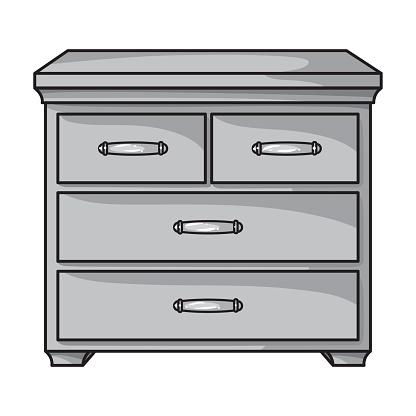 Wooden cabinet with drawers icon in monochrome style isolated on white background. Furniture and home interior symbol stock vector illustration.
