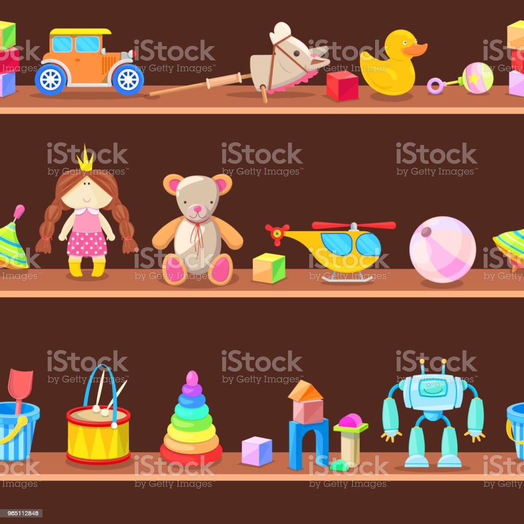 Wooden cabinet with kids toys on shelves. Seamless vector background royalty-free wooden cabinet with kids toys on shelves seamless vector background stock vector art & more images of backgrounds