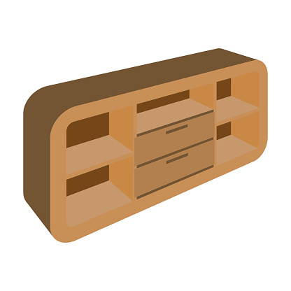 Wooden Cabinet with lockers and cupboards.TV stand.Bedroom furniture single icon in cartoon style vector symbol stock illustration.