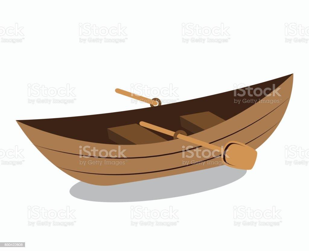 icône isolé de canoë en bois - Illustration vectorielle