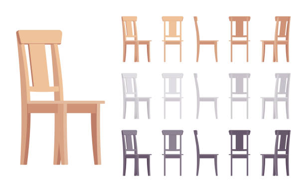 illustrazioni stock, clip art, cartoni animati e icone di tendenza di wooden chair furniture set - kitchen situations
