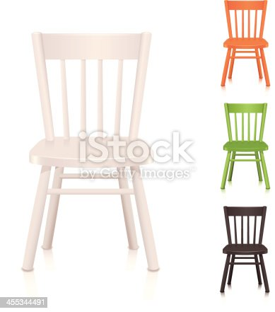 Wooden chair icon in three colors