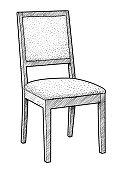 Wooden chair illustration, drawing, engraving, ink, line art, vector