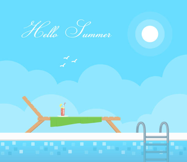 hölzerne chaiselongue entlang der pool im hintergrund blauer himmel. ausruhen und sonnen. urlaub und reisen-konzept. hallo sommer. - villas stock-grafiken, -clipart, -cartoons und -symbole