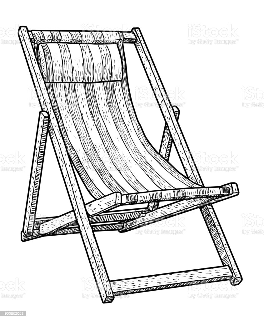 Wooden Chaise Lounge Beach Chair Illustration Drawing Engraving Ink