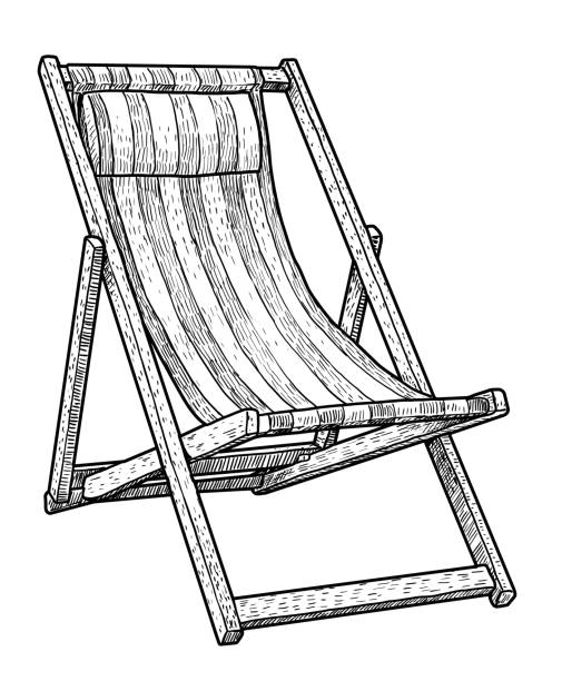 Wooden chaise lounge, beach chair illustration, drawing, engraving, ink, line art, vector Illustration, what made by ink and pencil on paper, then it was digitalized. outdoor chair stock illustrations