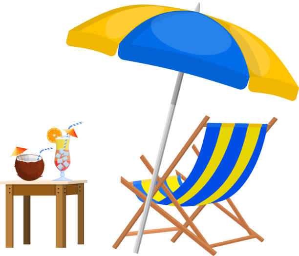 Wooden chaise lounge. Wooden chaise lounge. Sun lounger, deckchair, sunbed, beach chair with umbrella. Table with glass of cocktail and coconut. Vector illustration in flat style outdoor chair stock illustrations