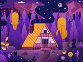 Mountain lodge by night. Traditional swiss chalet with straw roof at highland on national park. Summer adventure scene with wooden cabin in woods. Lonely eco house forest landscape in flat design.