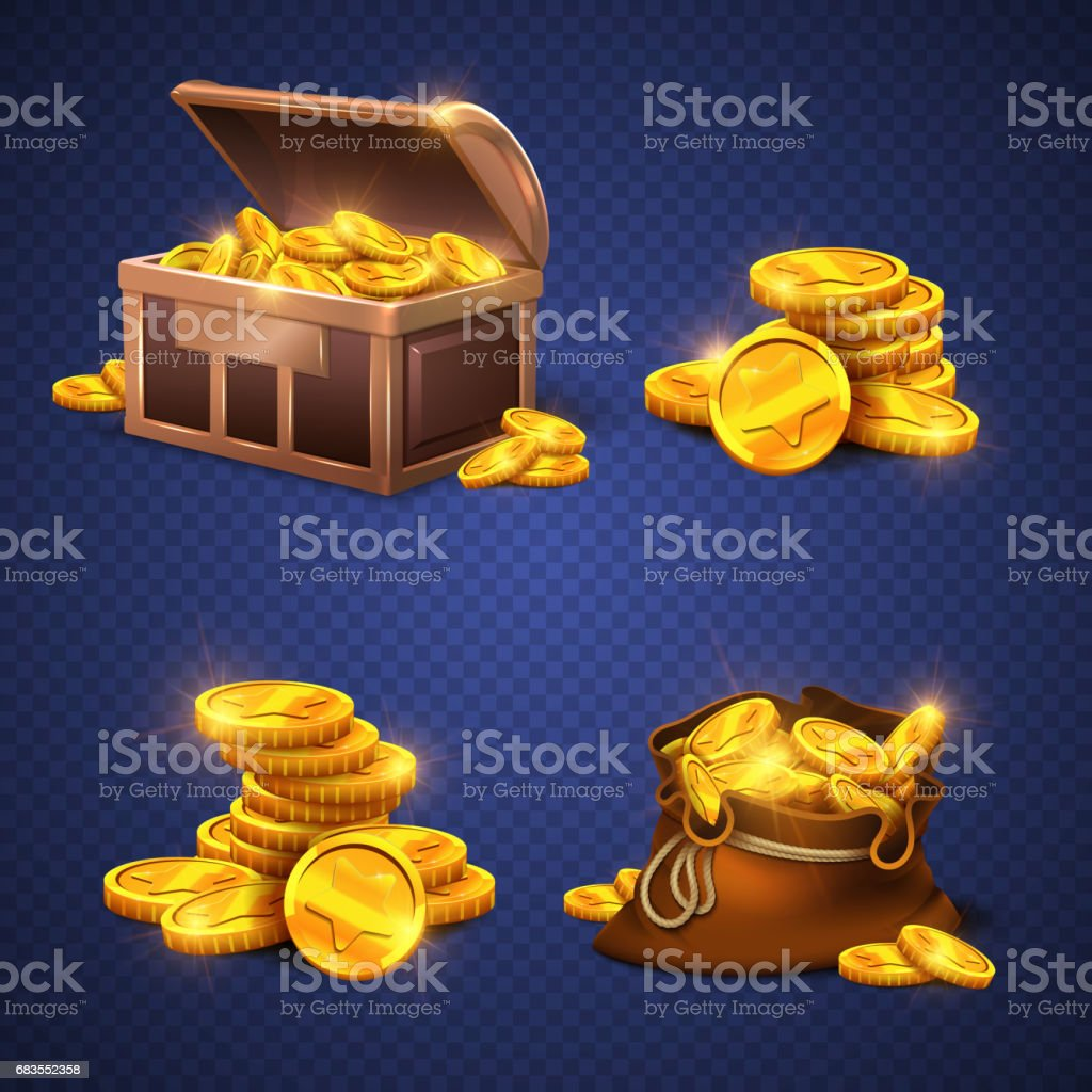 Wooden chest and big old bag with gold coins, money stack isolated vector art illustration