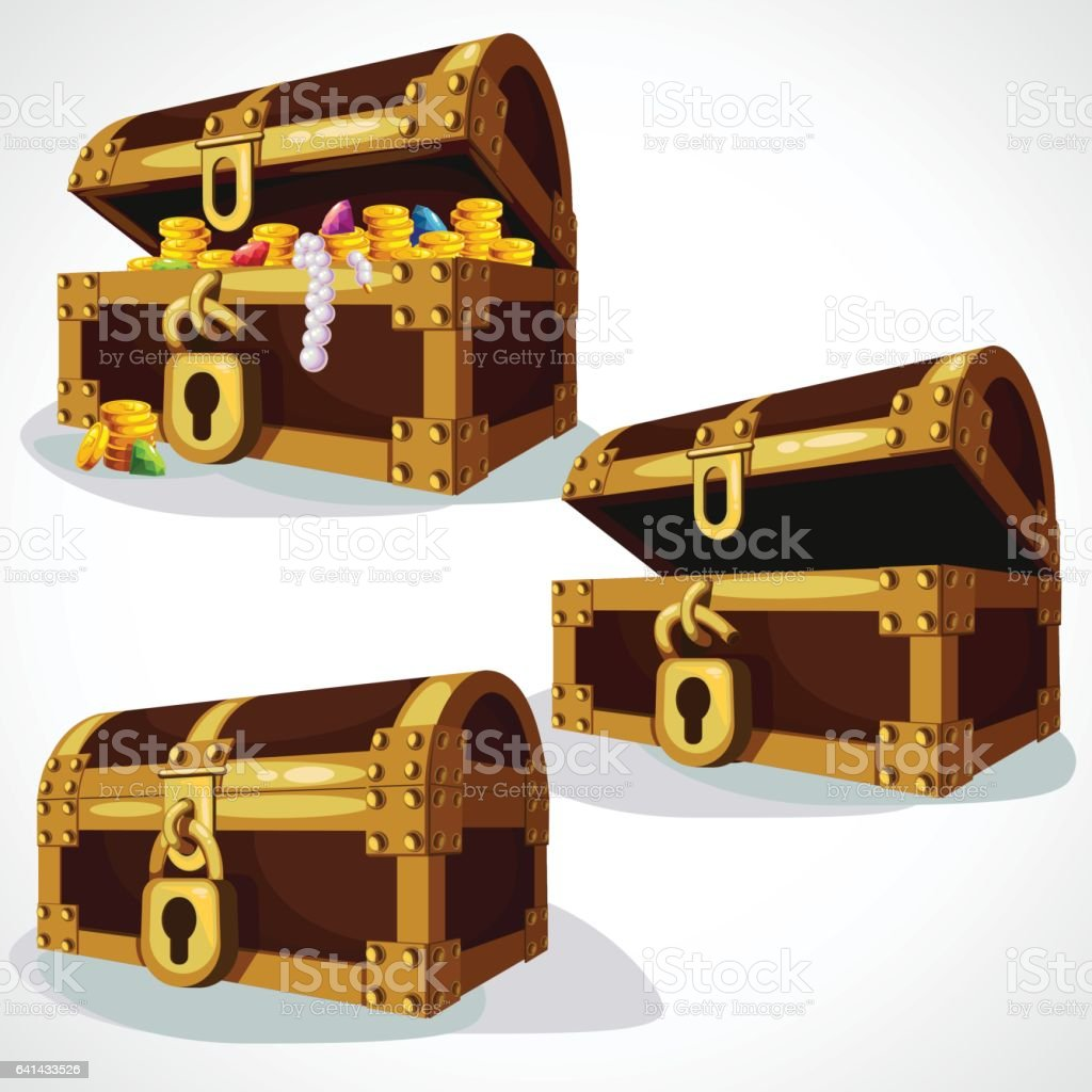 Wooden Chest set vector art illustration