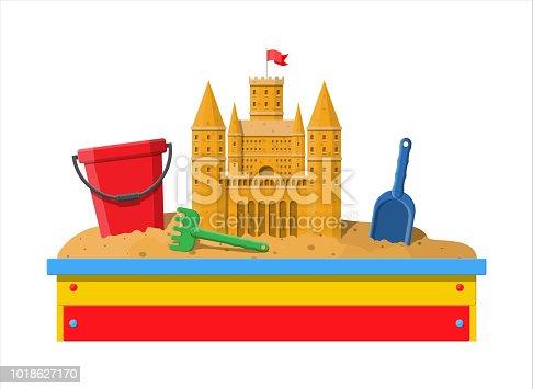 Wooden childrens sandbox for games. Sandbox with seats. Sand castle handmade sculpture. Plastic bucket with rake, shovel. Kids playground. Vector illustration in flat style