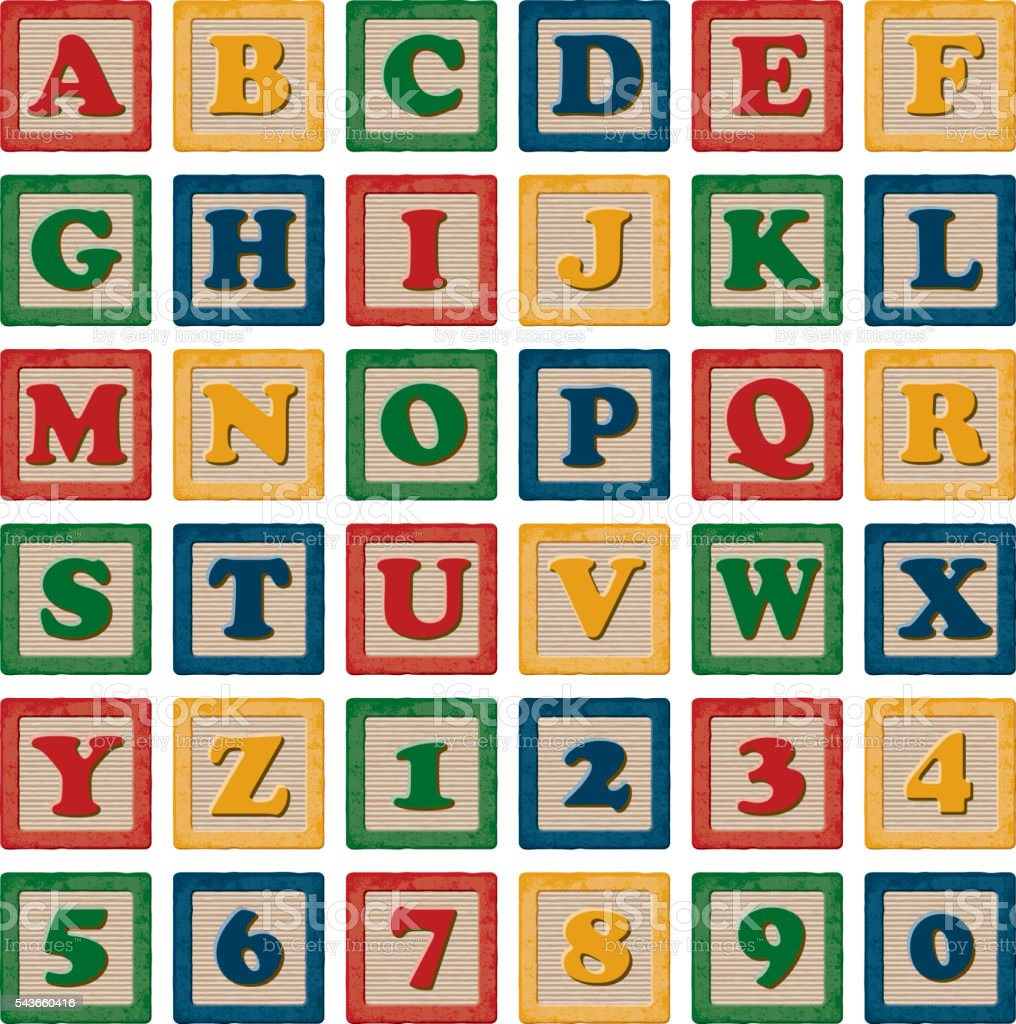 Wooden Children's Toy Alphabet Blocks Set vector art illustration