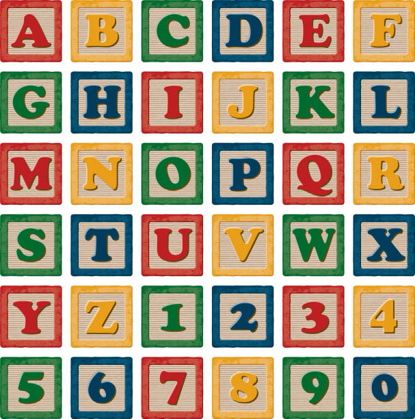 wooden children's toy alphabet blocks set - lego stock illustrations