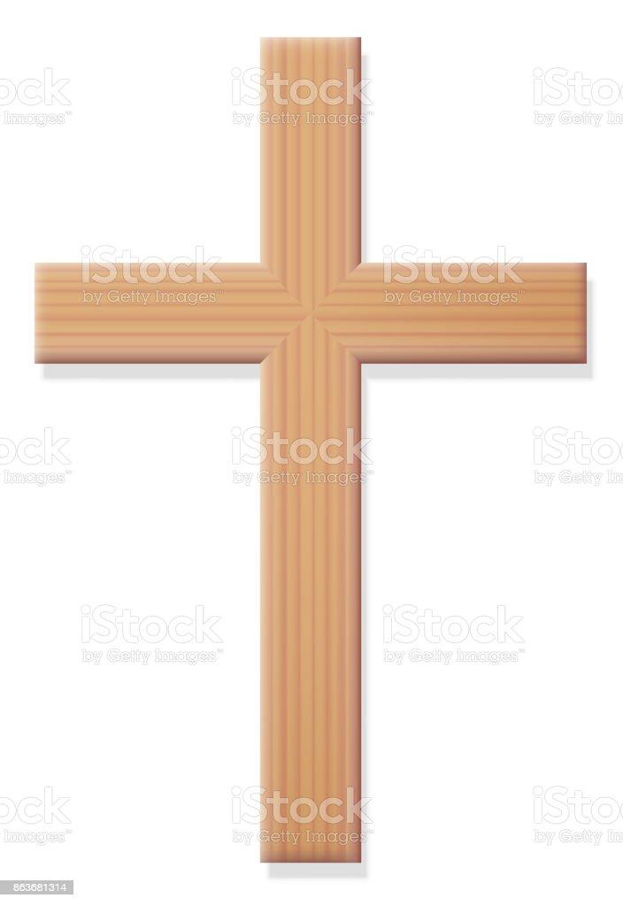 Ilustración de Madera Cruz Cristiana Símbolo Religioso De La ...