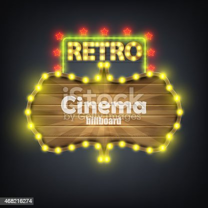 931079952 istock photo Wooden Cinema Retro Billboard Banner. 468216274