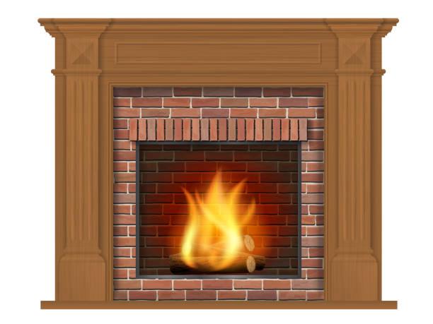 ilustrações de stock, clip art, desenhos animados e ícones de wooden classic fireplace with wooden decor - braseiro