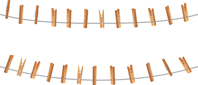 Wooden clips, clothespin on clothesline holding rope isolated. Laundry and housework vector concept