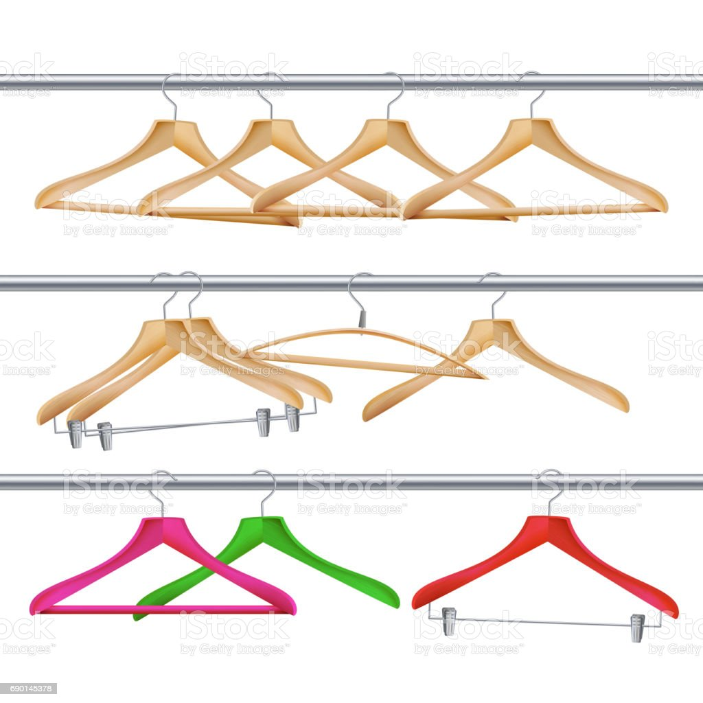 Wooden Clothes Hangers Vector. Realistic Coat Hangers On A Clothes Tube Rail vector art illustration