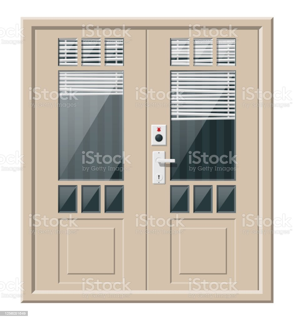 Wooden Cottage Door With Windows And Window Blind Stock Illustration Download Image Now Istock