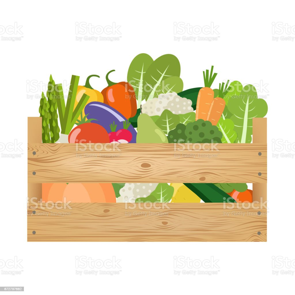 Wooden crate with vegetables and fruits. Healthy lifestyle. vector art illustration