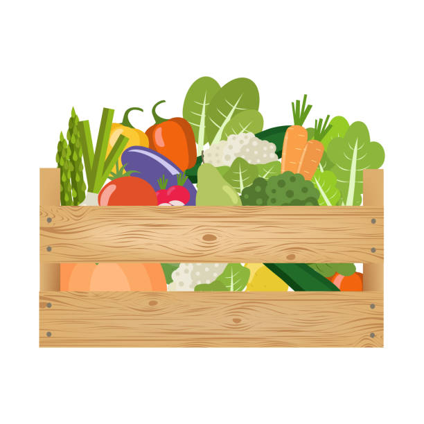 wooden crate with vegetables and fruits. healthy lifestyle. - kosz stock illustrations