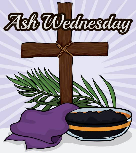 Wooden Cross, Stole, Palm Branch and Bowl for Ash Wednesday Poster with some elements to commemorate Ash Wednesday that mark the beginning of Lent season: wooden crucifix, bowl with ashes of palms and purple stole. lent stock illustrations
