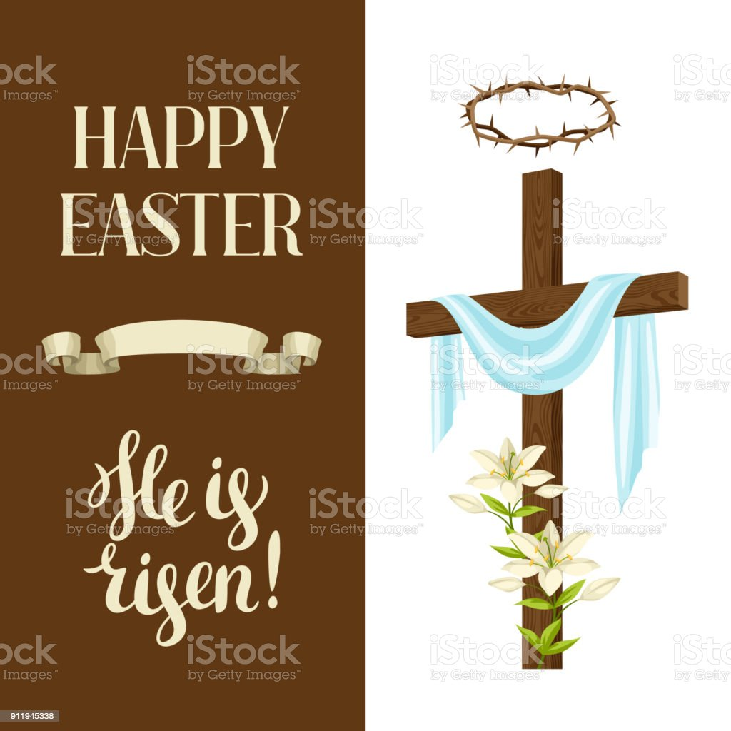 Wooden Cross With Shroud Lily Crown Of Thorns Happy Easter Concept