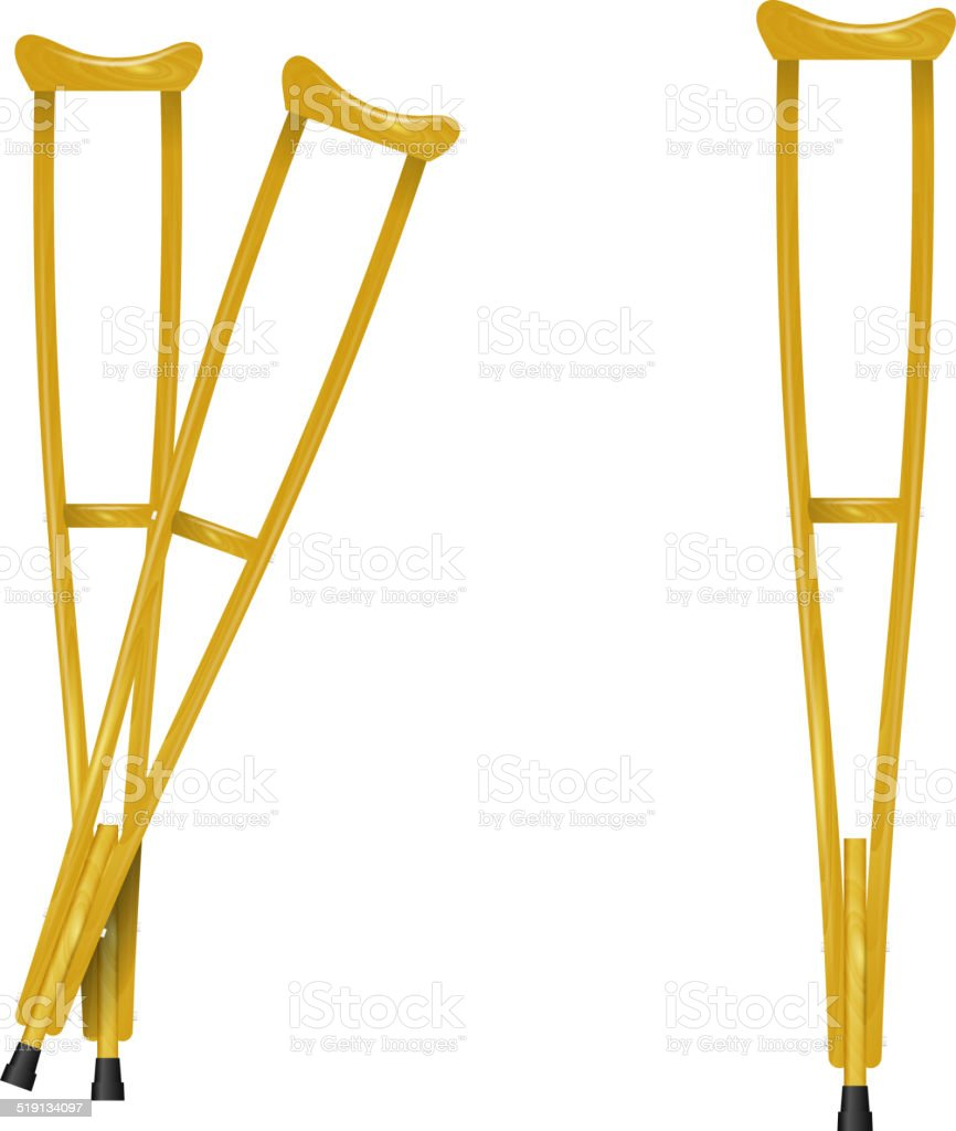 Wooden crutches on white background vector art illustration