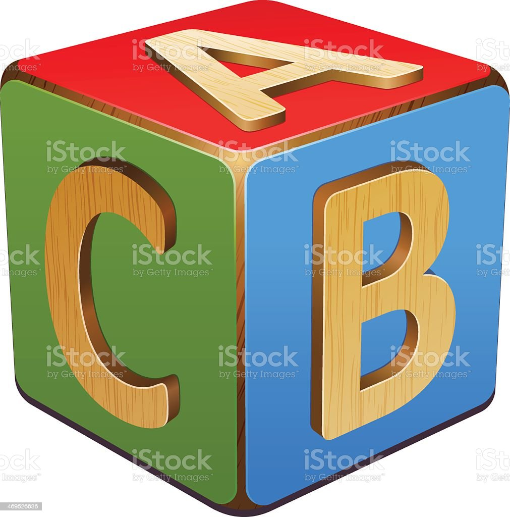 Wooden cube with blue, red and green A,B,C vector art illustration