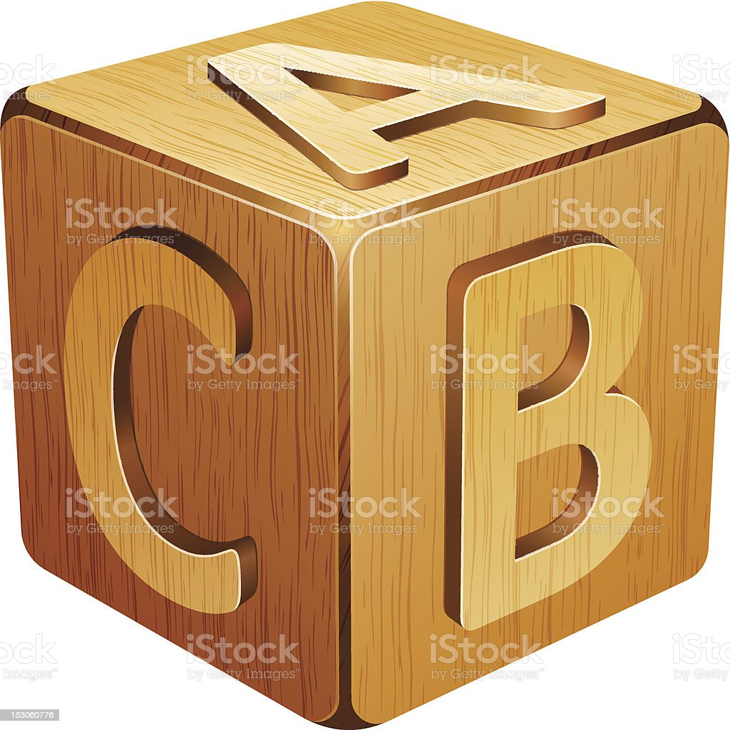 wooden cube with letters A,B,C royalty-free stock vector art