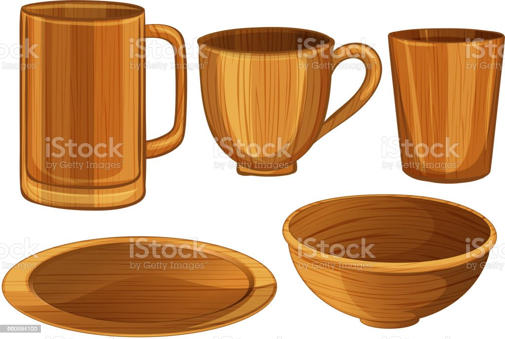 Wooden cups and plates royalty-free wooden cups and plates stock vector art & more images of art