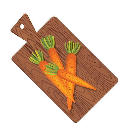 Wooden Cutting Board With Fresh Whole Carrots