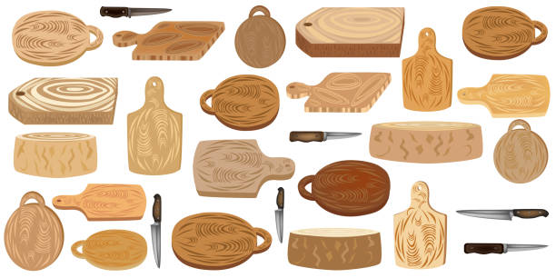 Wooden cutting boards. Kitchen utensil. Set of cutting boards and knives. Vector illustration of kitchen equipment. Wooden cutting boards. Kitchen utensil. Set of cutting boards and knives. Vector illustration. Kitchen equipment. cutting board stock illustrations