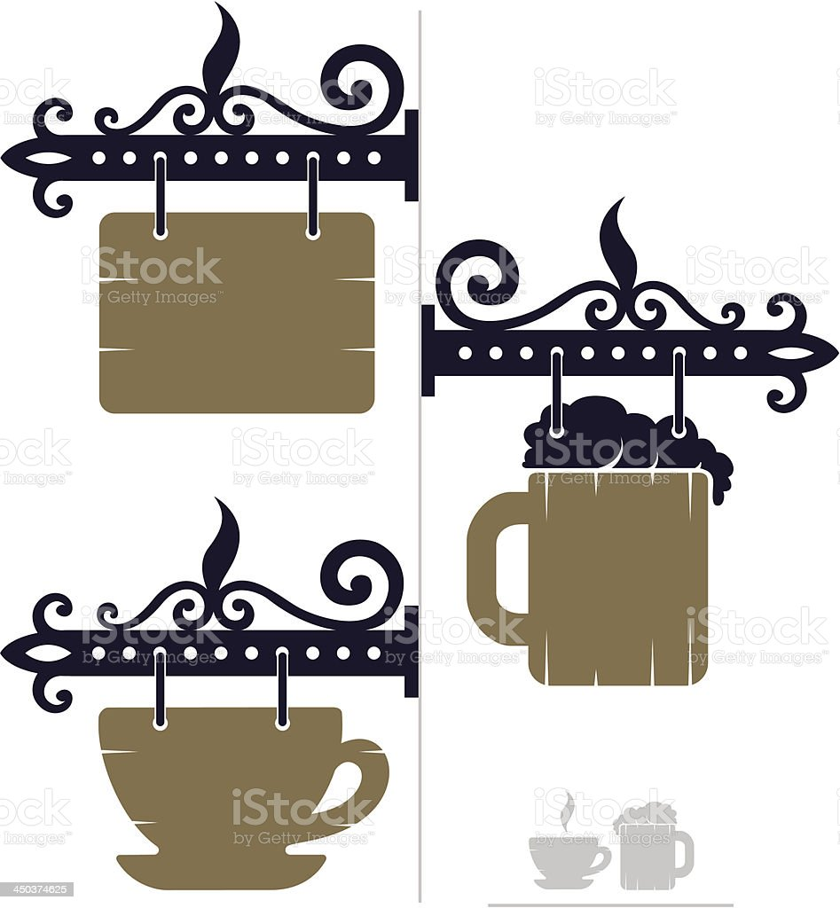 wooden decorative signs for cafe with cup and beer icons royalty-free stock vector art