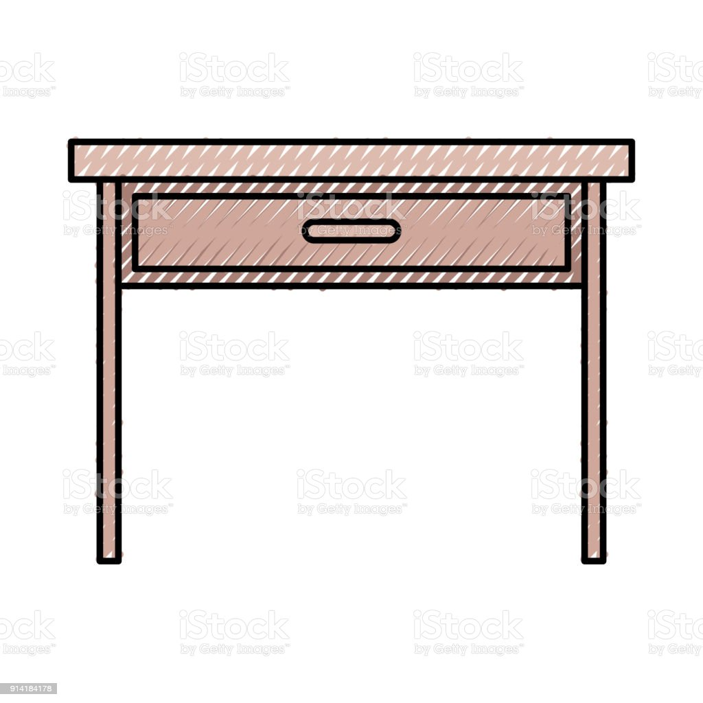 wooden desk of one drawer in colored crayon silhouette