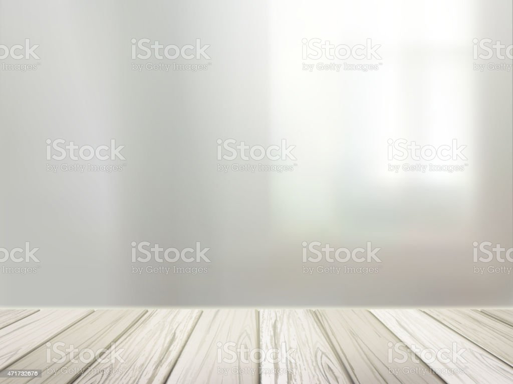 wooden desk over blurred interior scene vector art illustration