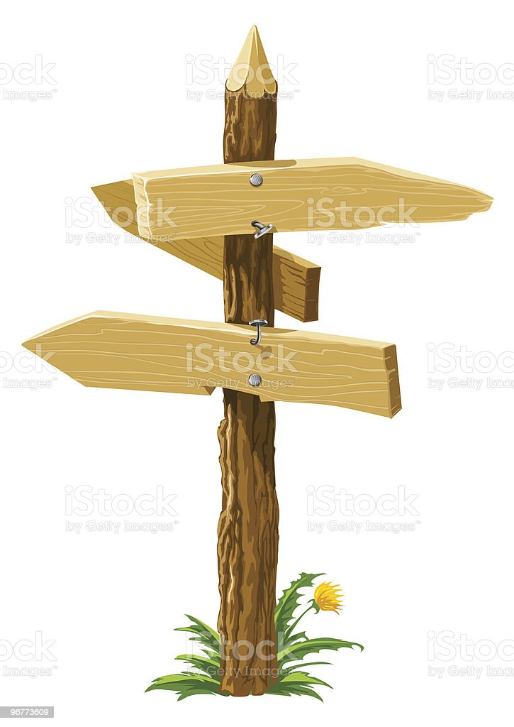 wooden direction arrows on the crossroads royalty-free stock vector art