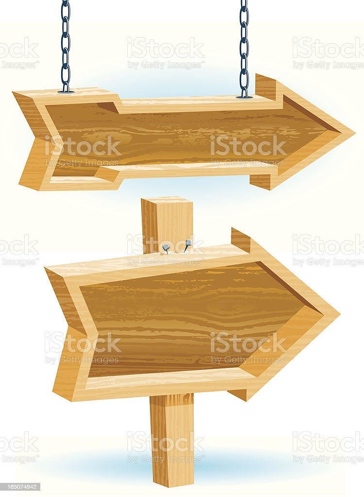 Wooden Directional Arrows royalty-free wooden directional arrows stock vector art & more images of announcement message