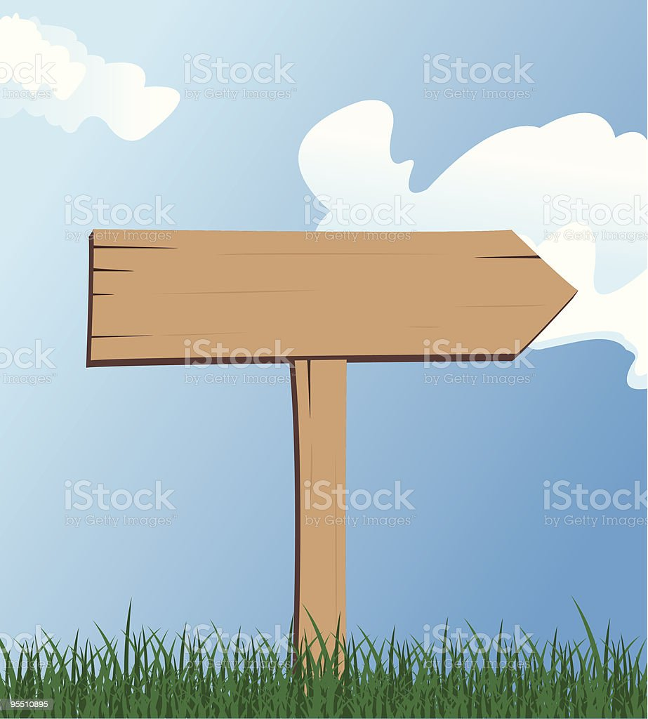 Wooden Directional Sign vector art illustration