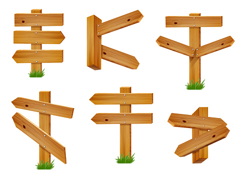 Wooden Directional Signs and Arrows