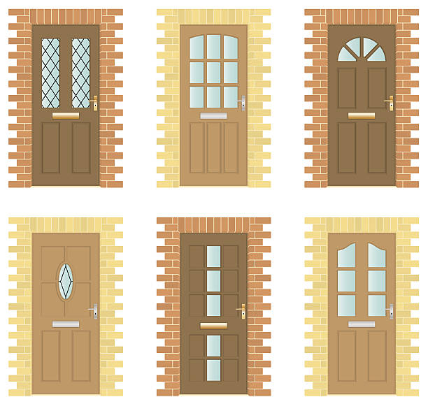 Wooden Door Set Six exterior wooden doors with brick frames front door stock illustrations