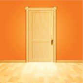 Wooden closed doorway.